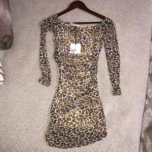 Mesh leopard print dress